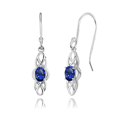 Ring Sapphire Blue Celtic (Sterling Silver Created Blue Sapphire Celtic Knot Oval Dangle Drop Earrings)