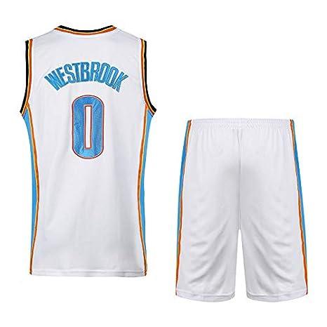 Traje De Baloncesto para Hombre Blanco Traje De Hombre Azul Thunder Team No 0 Wesbrooke Wei Less Embroidery Jersey