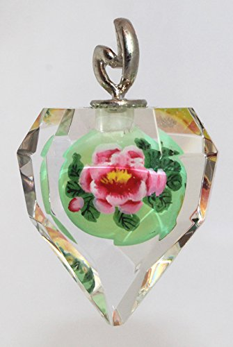 Pink & Yellow Camellia Flower Glass Art Crystal Pendant - Handmade, Hand-Painted Ornament, Charm, Jewelry