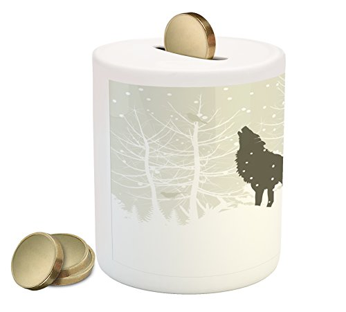 Lunarable Winter Piggy Bank by, Wolf Silhouette Howls in Woods Leafless Trees Snowflakes Wilderness Nature, Printed Ceramic Coin Bank Money Box for Cash Saving, Eggshell White Black