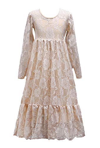 TYQQU Girl's Ball Gown Stunning Dress Long Sleeve Comfortable Dress Flower Dress Champagne 12-13T