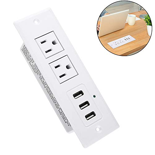 Recessed Power Outlet with USB, Desk Power Strip Socket with 2 Plugs, 6.5ft Cable for Furniture, Office, Kitchen, Hotel - - Recessed Center