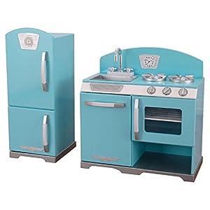 Amazing KidKraft 2 Piece Retro Kitchen And Refrigerator Set, Play Kitchen Set, Blue