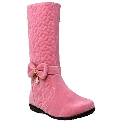 Generation Y Kids Boots Knee High Girls Quilted Suede Bow Accent Zip Close Riding Shoes Pink SZ 3 Youth - Kid Suede High Heels