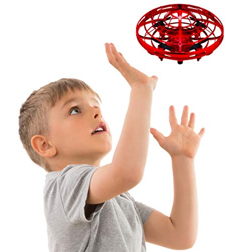 Hand Operated Drones for Kids or Adults - Scoot Hands Free Mini Drone Helicopter, Easy Indoor Small Orb Flying Ball Drone Toys for Boys or Girls (Red) -