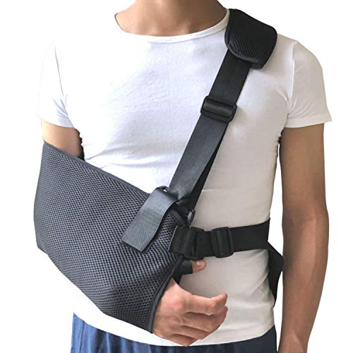 Arm Sling Shoulder Immobilizer with Adjustable Split Strap, Lightweight Breathable Wrist Elbow Support for Dislocation, Fracture, Sprains & Broken Arm, Fits Both Adults and Youths