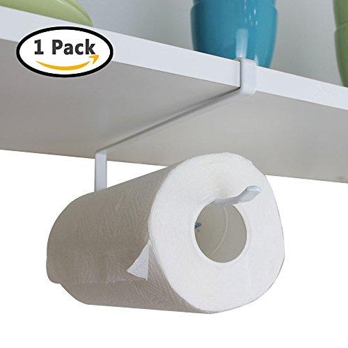 SYIDINZN Paper Towel Holder Hanger Under Cabinet Door Kitchen Bathroom Under Cabinet Shelf Tissue Roll Paper Towel Rack Dispenser Storage Organizer without Drilling (1 Pack)