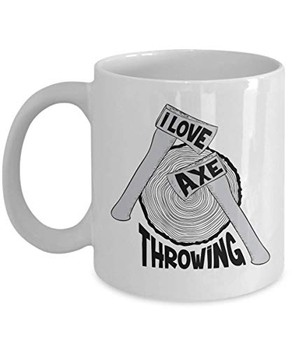 (I Love Axe Throwing With Axes & Wood Target Board Coffee & Tea Gift Mug, Accessories, Award And Cool Birthday Or Christmas Gifts For A Professional, Amateur, Enthusiast Or Hobbyist Ax Thrower (11oz))