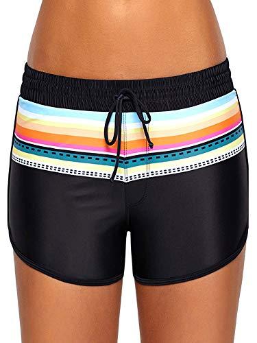 WILLBOND Women Swimsuit Shorts Tankini Swim Briefs Plus Size Bottom Boardshort Summer Swimwear Beach Trunks for Girls (XXL Size, Black Print 1)