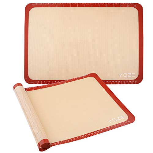 QUELLANCE Non-Slip Silicone Pastry Mat Set of 2 Half Sheet Mat, (11 5/8