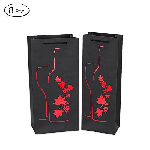 Jia Hu 8Pcs Vines Pattern Wine Bottle Bags Wrapping Gift Bag Package Party Travel Presents Red Small by Jia Hu (Image #4)
