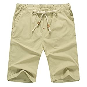 Mr.Zhang Men's Linen Casual Classic Fit Short Summer Beach Shorts