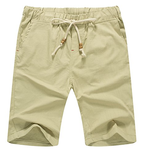 Leg Wide Linen Mix - Mr.Zhang Men's Linen Casual Classic Fit Short Summer Beach Shorts Beige-US XL
