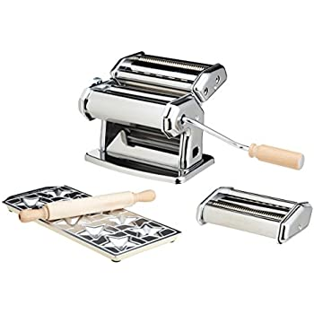 Pasta Maker Machine by Imperia- Deluxe Set w 2 Attachments, Star Ravioli Mold and Rolling Pin