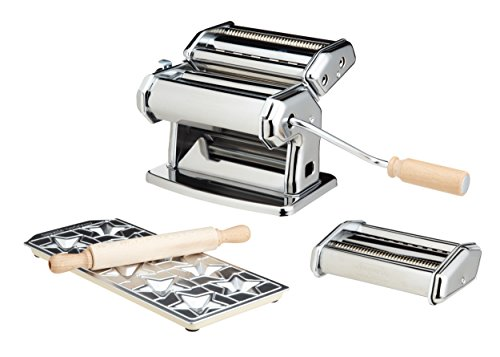 Pasta Maker Machine by Imperia- Deluxe Set w 2 Attachments, Star Ravioli Mold and Rolling Pin by CucinaPro