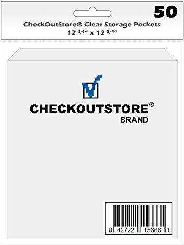 (100) CheckOutStore Clear Storage Pockets for Storing 12 x 12 Cardstock Paper used for Rubber Stamping & Scrapbooking (Clear with Flap - 12 3/4'' x 12 3/4'') by CheckOutStore
