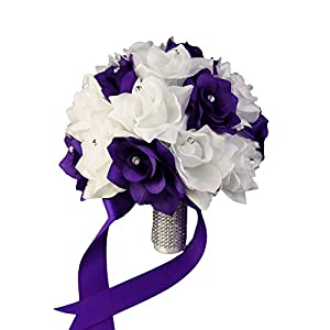 Wedding Bouquet - 2 Dozens of Roses - Purple and White - Silk Flower 86