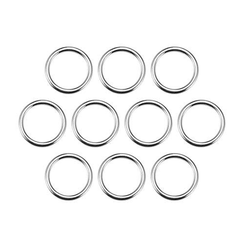 uxcell 10 Pcs O Ring Buckle 0.8 Inch Metal Circular O-Rings Silver Tone for Hardware Bags Belts Craft DIY Accessories