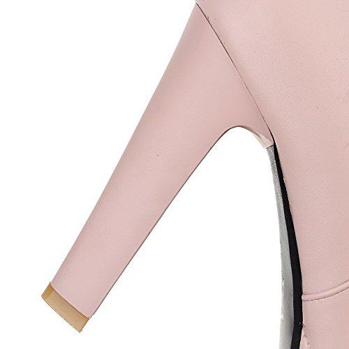 VogueZone009 Damen Niedrig-Spitze Reißverschluss Hoher Absatz Stiefel Pink
