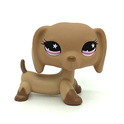 Mini Pet Shop Dachshund Dog Puppy Tan with Pink Star Eyes #932: Toys & Games