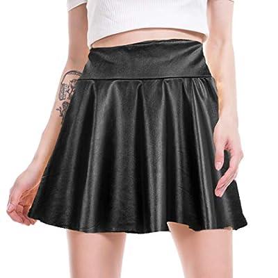 LYZ Women's Shiny Metallic Wet Look Skirt Pleated Flared Skater Skirt