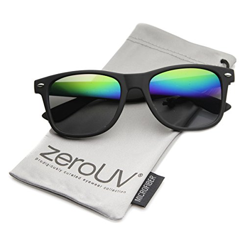 Flat Matte Reflective Mirror Color Lens Large Horn Rimmed Style Sunglasses - UV400 (Soft Finish | Black / Rainbow)