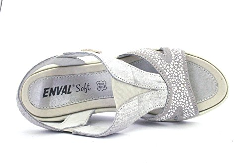 In Pelle Enval Scarpa Argento Italy Made Sandalo Flessibile Donna Zeppa Soft 12830 88qFg