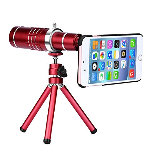 Sonmer HD 18x Optical Zoom Smartphone Camera Aluminum Alloy Telescope, With Clip Tripod (Red) by Sonmer (Image #3)