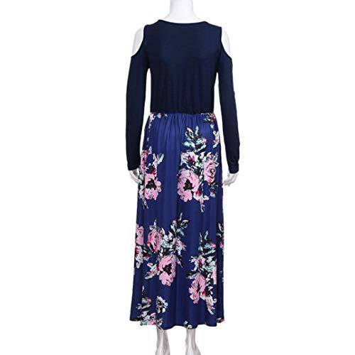 Zhrui élégante bleu Shoulder robe Womens taille manches poche moyenne Cold élégant couleur à Print longues avec zOazxrqgEw