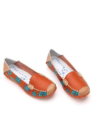 Kvinner Matchlife Style2 Vintage Skinn Pumpe Sko orange Flat Casual wZgqdZz
