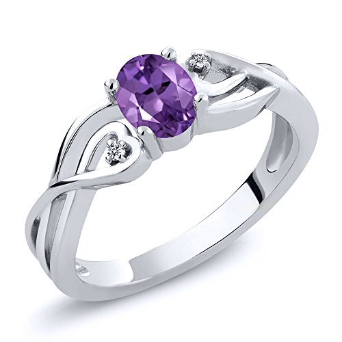 0.36 Ct Oval Purple Amethyst White Diamond 925 Sterling Silver Ring (Available in size 5, 6, 7, 8, 9)