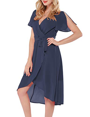 Azalosie Women Wrap Midi Dress V Neck Short Sleeve Tie Waist High Low Flowy Slit Dress Summer Beach Wedding Maxi Dress Dusty Blue