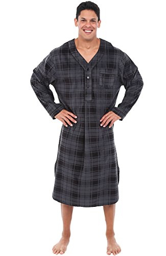Mens Grey Fleece Plaid Nightshirt
