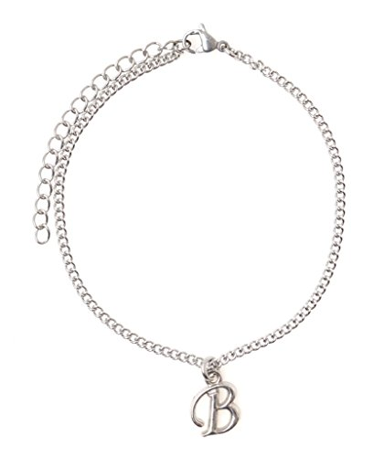 """It's All About...You! 7.5"""" - 9.5"""" Stainless Steel Ankle Bracelet with Alloy Initial Letter B ()"""