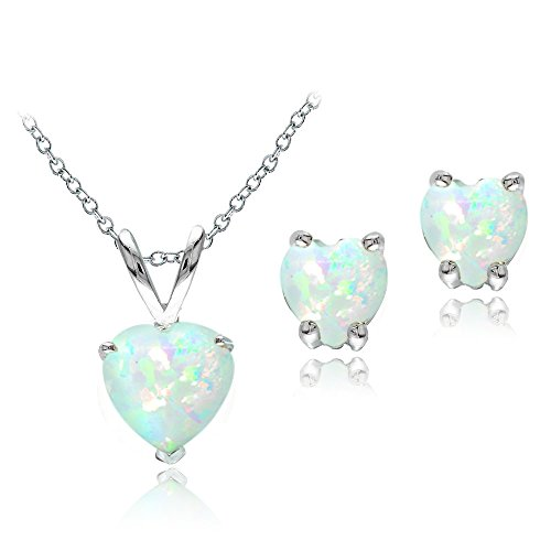 Sterling Silver Created White Opal Heart Solitaire Pendant & Stud Earrings Set - Opal Kids Ring