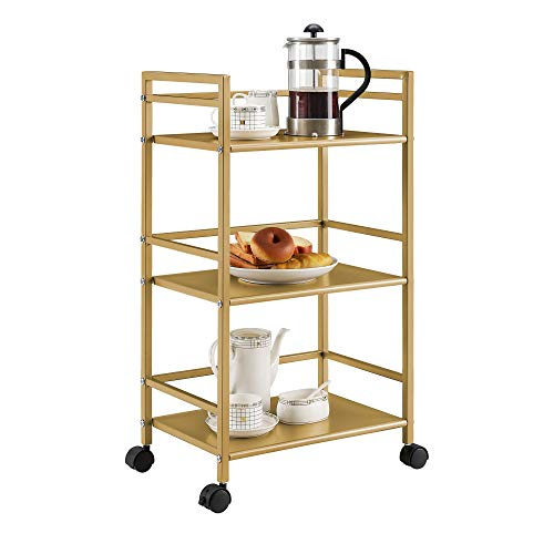 Novogratz 7741871COM Helix Utility Cart, - Gold Metal Cart Bar