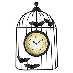 Lily's Home Rustic Victorian Roses Birdcage Outdoor Hanging Garden Wall Clock, Black Wrought Iron
