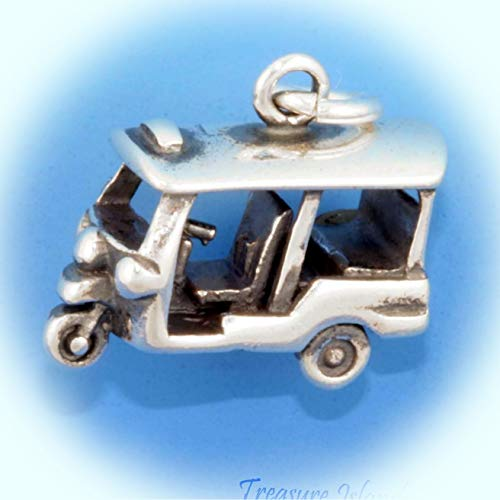 Auro Rickshaw Tuk-Tuk Asian Taxi Three-Wheeler 3D 925 Sterling Silver Charm Asia Vintage Crafting Pendant Jewelry Making Supplies - DIY for Necklace Bracelet Accessories by CharmingSS -