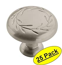 "Amerock BP1581-WN Inspirations Leaf Weathered Nickel Cabinet Hardware Knob - 1-1/4"" Diameter, 25 Pack"