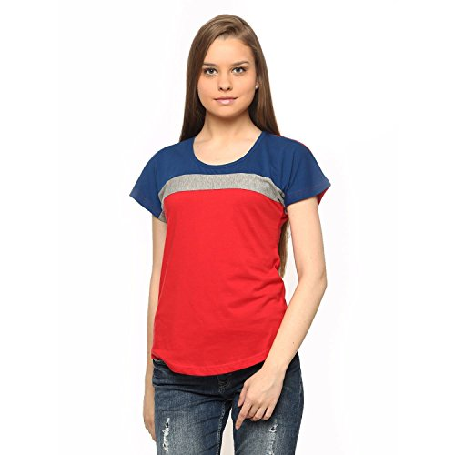 Vvoguish Full Sleeve Indigo Grey Melange Red Round Neck