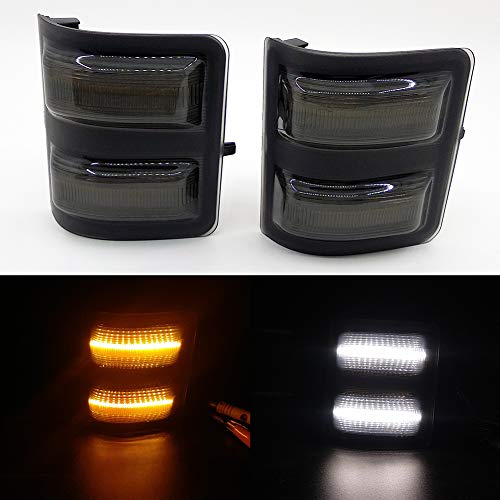 (Xinctai Switchback LED Side Mirror Marker Light Turn Signal Lamp for 2008 to 2016 Ford F250 F350 F450 F550 Super Duty Pickup Truck, Smoke Lens/Clear Lens (Smoke)
