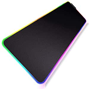 Geecol RGB Soft Gaming Mouse Pad, Oversized Glowing Led Extended Mousepad with Non-Slip Rubber Base Computer Keyboard Pad Mat, 80 * 30cm(31.5 * 12 Inch)