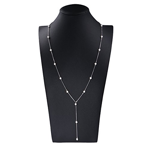 Backdrop Necklace (JZMSJF Bridal Back Necklace S925 Sterling Silver Backdrop Artificial Pearls Backless Dress Accessories)