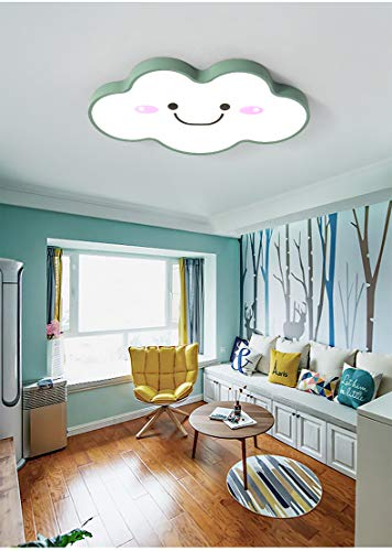 "LITFAD Modern Dimmable Ceiling Light 19.68"" Wide Ultralight Cartoon Creative Personality Smile Face Design LED Flush Mount Pendant Light in Green Finish for Girls Room,Kids Bedroom,Study Room"