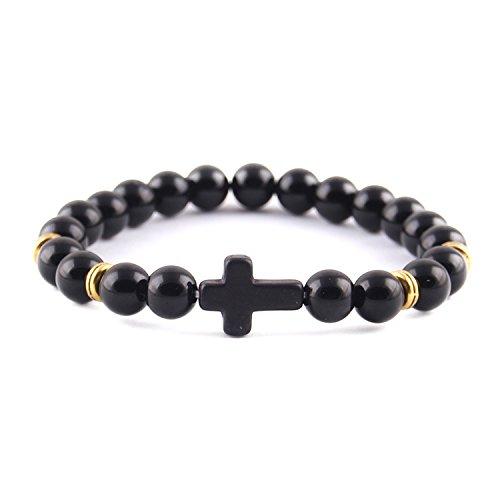 HuoGuo New fashion Trendy Jesus cross Charm men bracelet Lava Stone 8mm Beads Bracelets & Bangles for women Jewelry ()