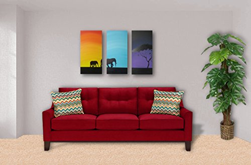 Morning, Noon, and Night - Acrylic Painting - 12x24inch (3 set) Stretched Canvas