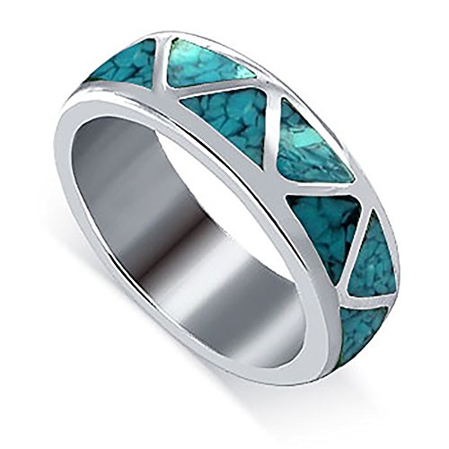 Sterling Silver Turquoise Inlay Ring (Gem Avenue Unisex 925 Sterling Silver Turquoise Gemstone Inlay Band)