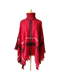 Bridess Women's Winter High Neck Knitted Tassel Poncho Cape Shawl Pullover Sweater