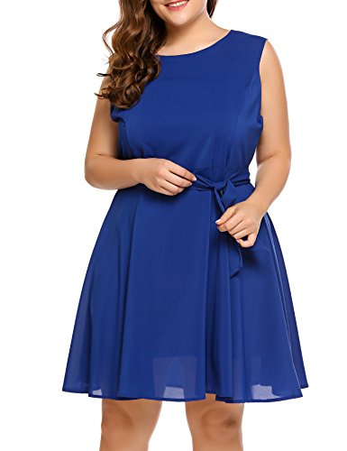 INVOLAND Womens Plus Size A-Line Flowy Midi Chiffon Sundress - Ladies Sleeveless Round Neck Flare Summer Swing Mid Dress