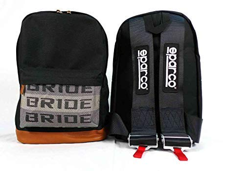 JDM Bride Sparco Racing Backpack Brown Bottom with Black sparco Harness Straps - New Style Race Car